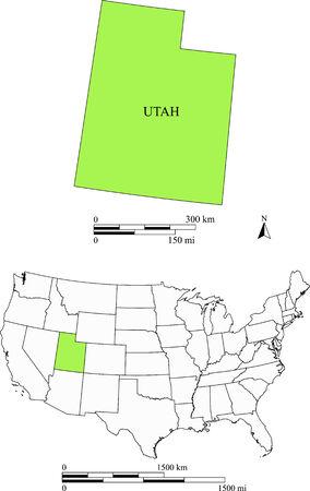 Utah map Ilustracja