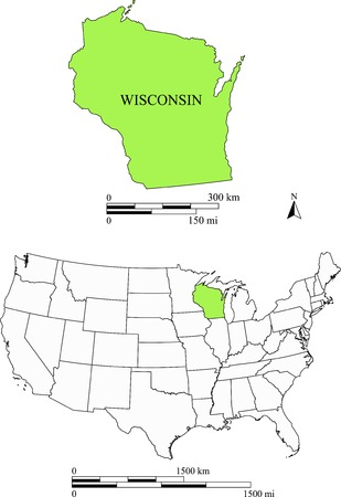 state of wisconsin: Wisconsin map Illustration