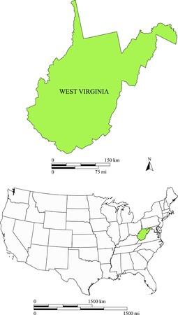 West Virginia kaart