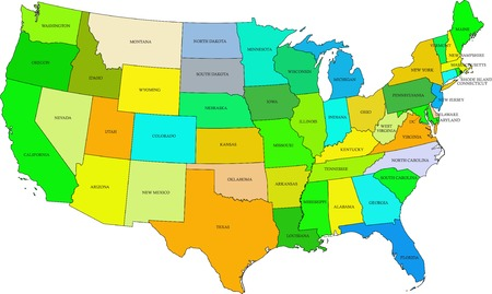 USA 50 States Colorful Map And State Names Vector Royalty Free