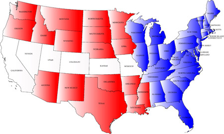 USA map with the color of the flag