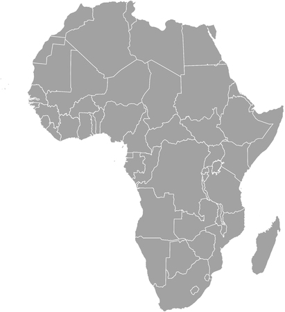 african grey: Africa map outline with borders of provinces or states Illustration