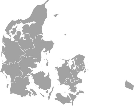 Denmark map outline with borders of provinces or states
