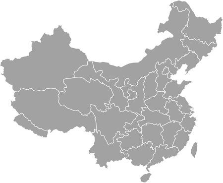 Chiny zarys mapy z zaznaczonymi granicami województw lub państw