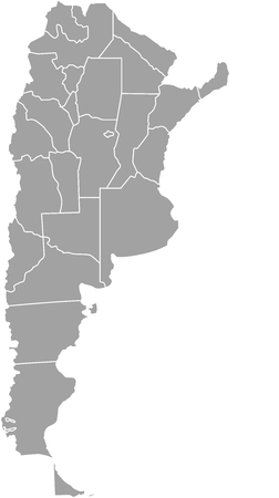 Mapa Argentyny z granicami prowincji lub państw