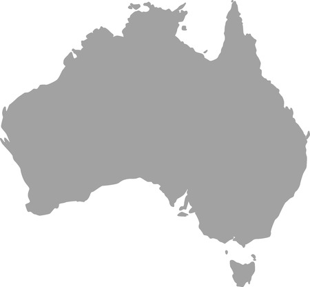Australia map outline in gray color 矢量图像