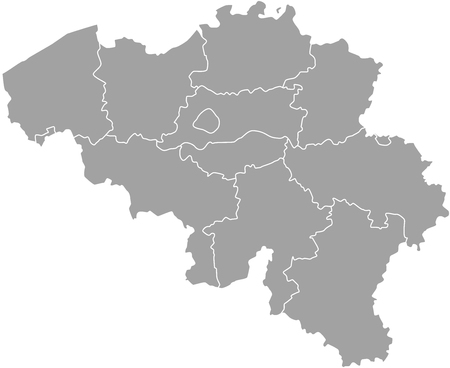 Belgium map outline with borders of provinces or states Illustration