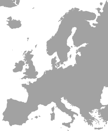 Europe map outline vector in gray color