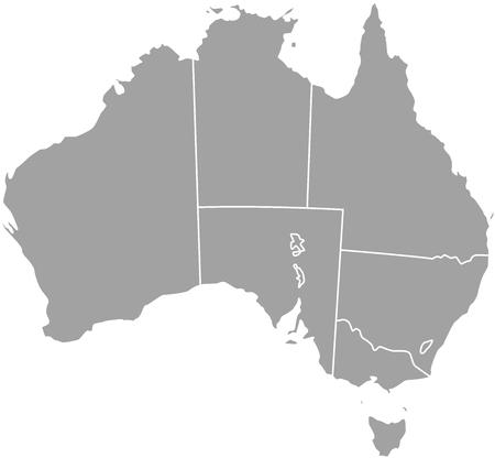 Australia, cartina muta con bordi di province o stati