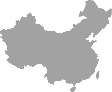 anhui: China map outline vector in gray color