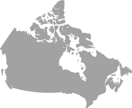 Canada map outline vector in gray color