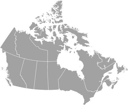 Kanada zarys mapy z zaznaczonymi granicami województw lub państw