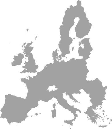 mapa de europa: Unión Europea de vectores mapa de contorno de color gris