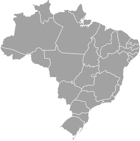 Brazil map outline with borders of provinces or states Illustration