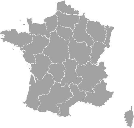 corsica: France map outline vector with borders of provinces or states