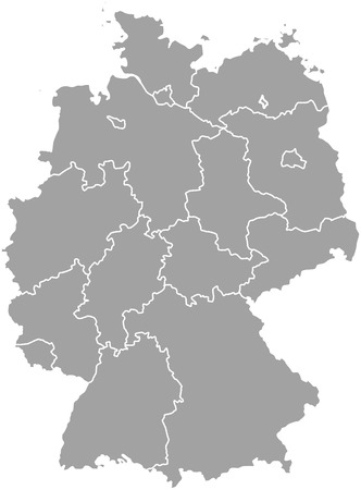 Germany map outline with borders of provinces or states Illustration