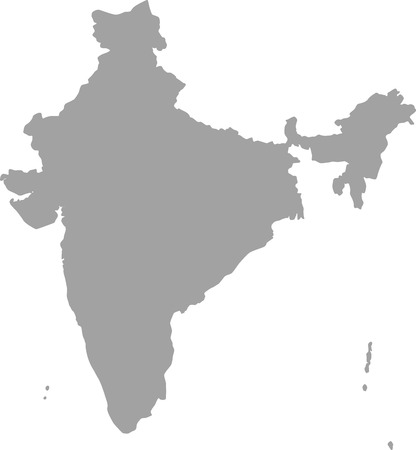 madhya: India map outline vector in gray color