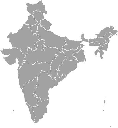 India kaart overzicht met de grenzen van provincies of staten