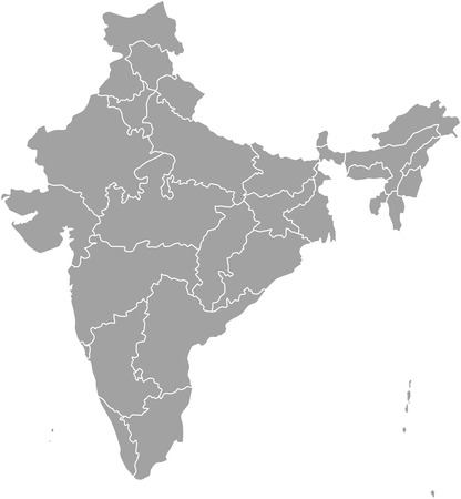 political division: India map outline with borders of provinces or states