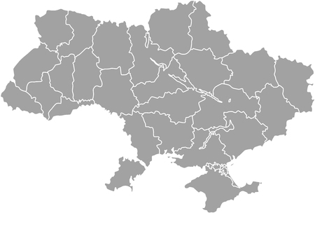 ukraine: Ukraine map outline vector with borders of provinces or states