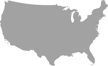 United States map outline vector in gray color