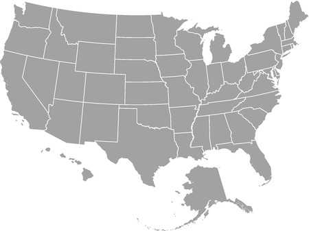 United States  map outline vector with borders of provinces or states
