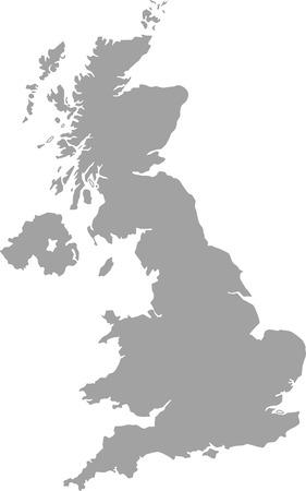 Wielka Brytania zarys mapy wektorowe w kolorze szarym