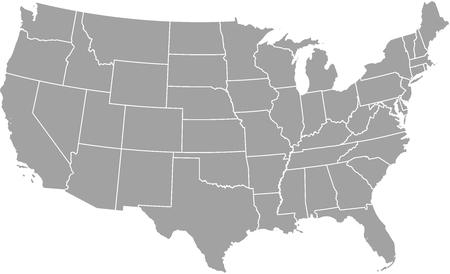 Estados unidos Mapa del vector esquema con las fronteras de las provincias o estados Foto de archivo - 51018446