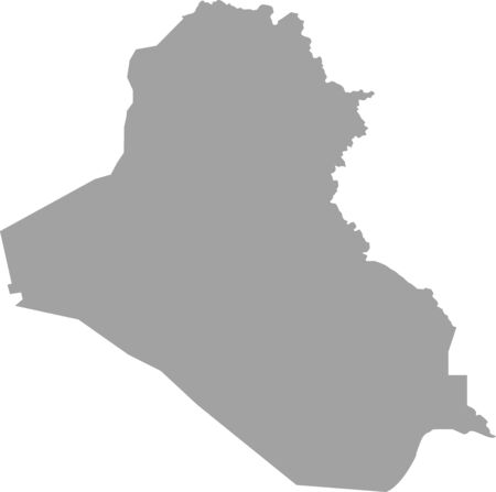 basra: Iraq map outline vector in gray color