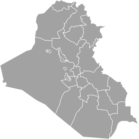 basra: Iraq map outline vector with borders of provinces or states