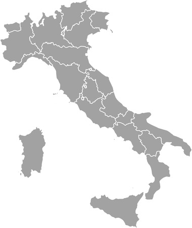 Italy map outline vector with borders of provinces or states