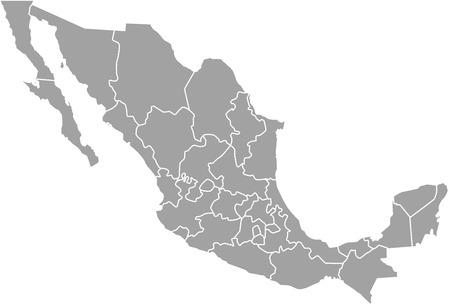 Meksyk zarys mapy wektorowe z zaznaczonymi granicami województw lub państw Ilustracje wektorowe