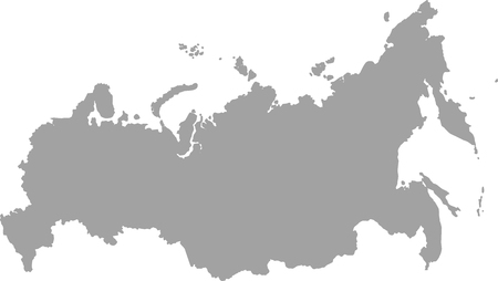 Russia map outline vector in gray color