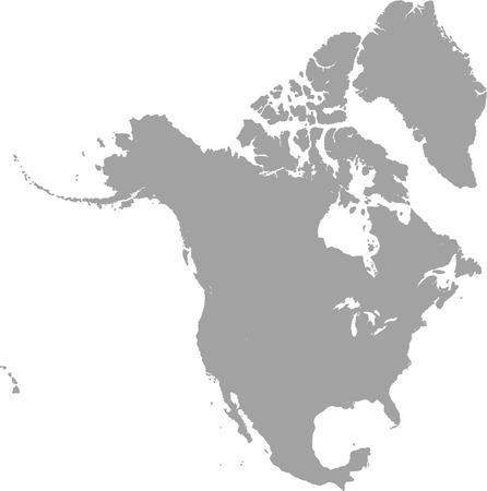 グレー色の北アメリカ地図アウトライン ベクトル  イラスト・ベクター素材