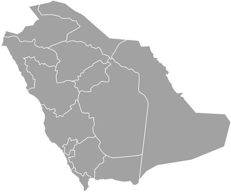 Arabia Saudita Mapa del vector esquema con las fronteras de las provincias o estados Ilustración de vector