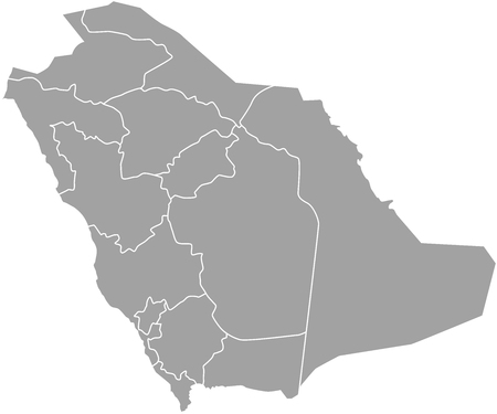Saudi Arabia map outline vector with borders of provinces or states