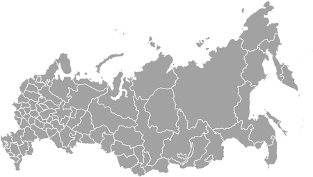 Rosja zarys mapy wektorowe z zaznaczonymi granicami województw lub państw