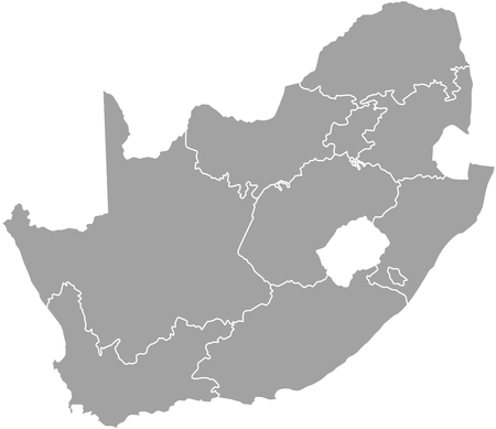 african grey: South Africa map outline with borders of provinces or states