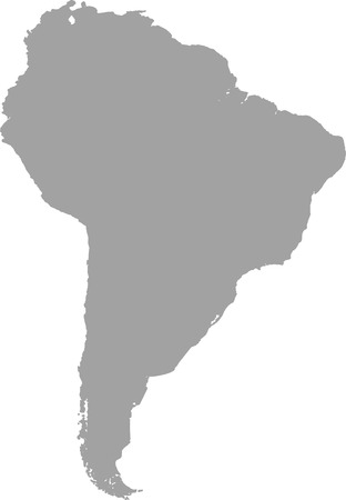 South America map outline vector in gray color