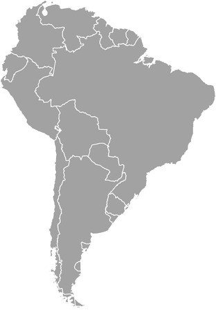 South America map outline vector with borders of provinces or states