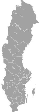 Schweden Karte Umriss Vektor mit Grenzen der Provinzen oder Staaten