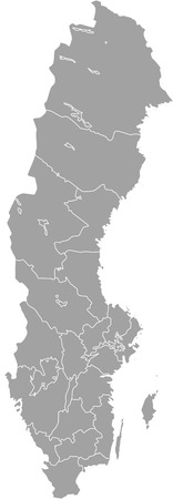 Sweden map outline vector with borders of provinces or states
