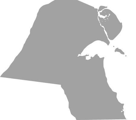 mid distance: Kuwait map outline vector in gray color