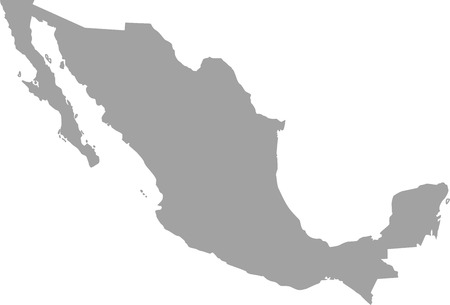 Mexico map outline in gray color