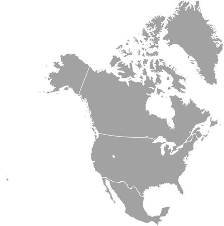 Amérique du Nord carte contour avec les frontières des provinces ou états Banque d'images - 50920431