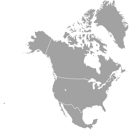 north america: North America map outline with borders of provinces or states