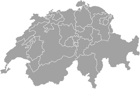 aargau: Switzerland map outline  with borders of provinces or states
