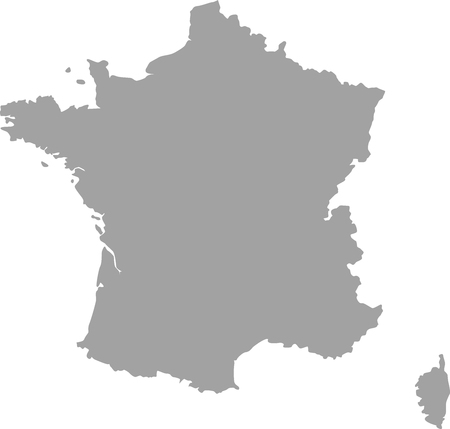 France map outline in gray color