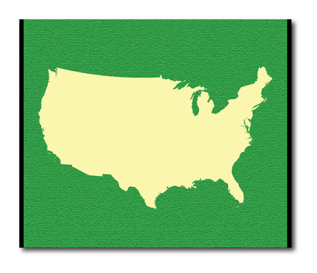 United States map outline in green color
