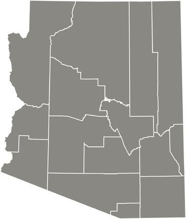 Arizona county kaart vector overzicht in grijze kleur Stock Illustratie